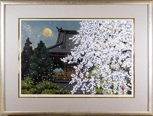 井堂雅夫「朧月」木版