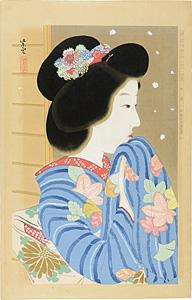 新浮世絵美人合 十一月 初雪 / 近藤紫雲