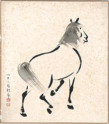 自筆色紙 馬 / 武内桂舟