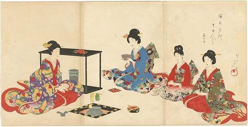 徳川時代 貴婦人の図 茶の湯 / 周延