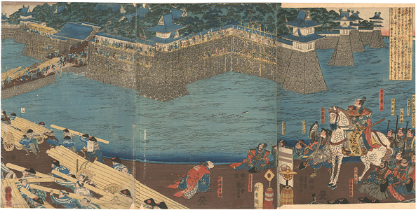 大田春長の城塀修復図(清洲城割普請の図) / 国芳
