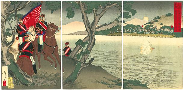 日清戦争 我軍大同江を隔て清軍砲塁築造を見望の圖 / 年昌