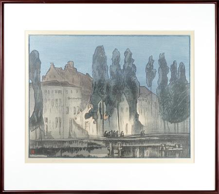 The Potterierci , Bruges / フランク・ブラングィン(Frank Brangwyn) 彫摺:漆原木虫