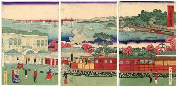 東京新橋鉄道繁栄并高輪遠景 / 国政四代