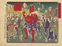 東京開化狂画名所 浅草観音年の市旧幣の仁王 / 芳年