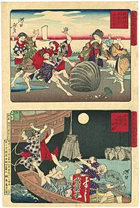 東京開化狂画名所 洲崎汐干・鉄砲州船饅頭 / 芳年