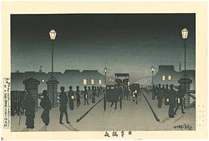 東京名所図 日本橋夜【復刻版】 / 清親