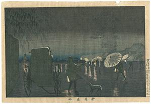 東京名所図 柳原夜雨 / 清親