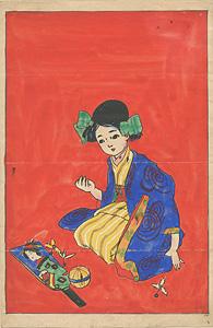 自筆画 少女と羽子板 / 太田三郎
