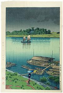 五月雨(荒川) / 川瀬巴水