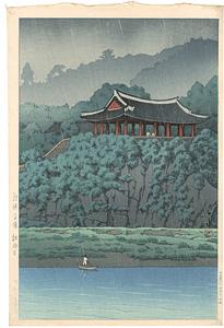 朝鮮平壌牡丹台(雨) / 川瀬巴水