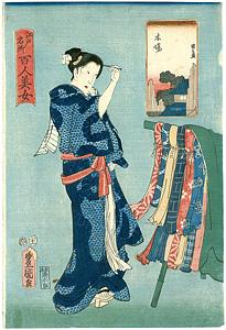 江戸名所百人美女 木場 / 豊国三代