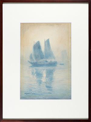 自筆画 帆船 / 吉田博