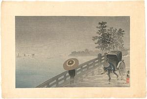 月島月見橋の雨 / 清親
