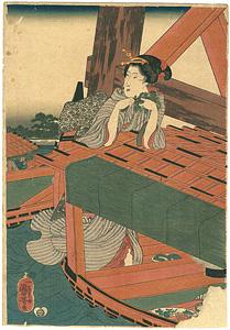 四季遊観 夏 橋間のすずみ ※右図のみ / 国芳