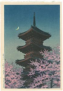 春の夕(上野東照宮) / 川瀬巴水