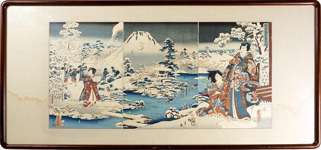 合筆源氏庭中之雪 / 豊国三代 広重二代