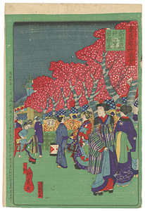 東京名所図会 新吉原仲の町夜桜の景 / 歌虎・国利