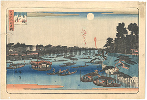 江戸名所三ツの眺 両国夏の月 / 広重初代