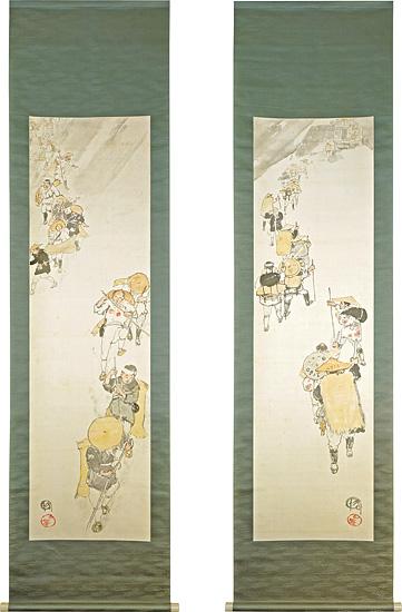 肉筆双幅 不二登山・下山の図 / 吉田博