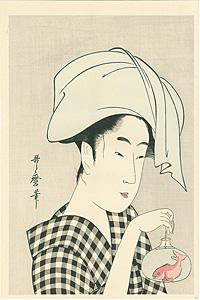 金魚鉢を下げる女【復刻版】 / 歌麿