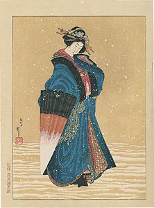 雪中傘持美人【復刻版】 / 北斎