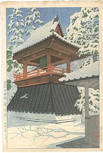 護国寺鐘楼(雪晴れ) / 笠松紫浪