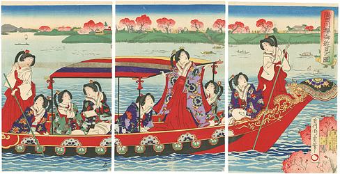 隅田川桜御遊見之図 / 周重