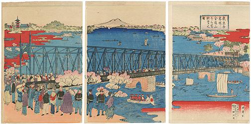 東京吾妻橋ヨリ金龍山及び向島眺望の図 / 栄斎