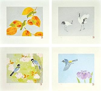 鳥たちの四季 春闌・夏隣・高秋・初日影 / 上村淳之