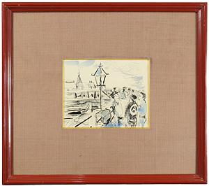 自筆画 鎧橋風景 / 木村荘八
