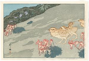 日本アルプス十二題 雷鳥とこま草 / 吉田博