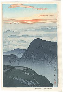 日本アルプス十二題 烏帽子岳の旭 / 吉田博