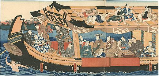 隅田川夕涼みの図(仮題) / 豊国三代
