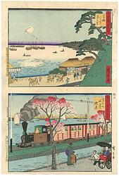古今東京名所 高輪 (古)八ツ山下月の景 (今)海岸の鉄道 / 広重三代