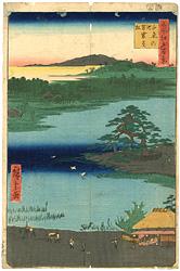 名所江戸百景 千束の池 袈裟懸松  / 広重初代