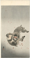 桜吹雪に小猿 / 小原古邨(祥邨)