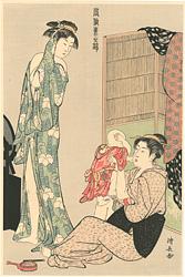風俗東之錦 子をあやす母と浴後の女【復刻版】 / 清長