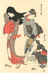 風俗東之錦 凧糸の縺れ / 清長