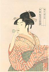 婦女人相十品 ビードロを吹く女【復刻版】 / 歌麿