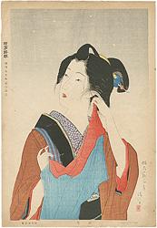 明治十五年代美人風俗 簿雪 / 鏑木清方