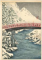 日光神橋の雪 / 高橋松亭(弘明)