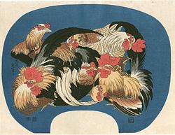 群鶏【復刻版】 / 北斎
