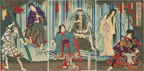 花の顔姿の瀧壺 / 国周