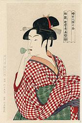 婦人相学十躰 ポペンを吹く娘【復刻版】 / 歌麿