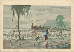 不忍池畔雨中図 / 清親