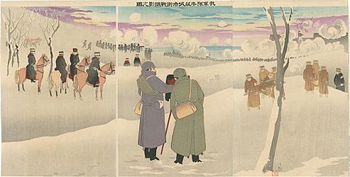 我軍隊牛荘城市街戦撮影之図 / 清親