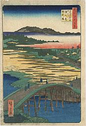 名所江戸百景 高田姿見のはし俤の橋砂利場 / 広重初代