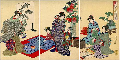 女礼式裁縫の図 / 周延