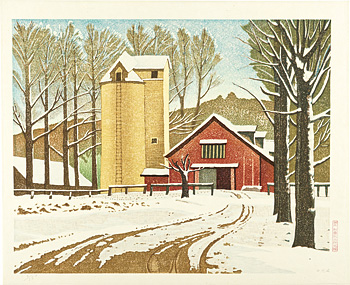 残雪の牧場 / 岡鹿之助